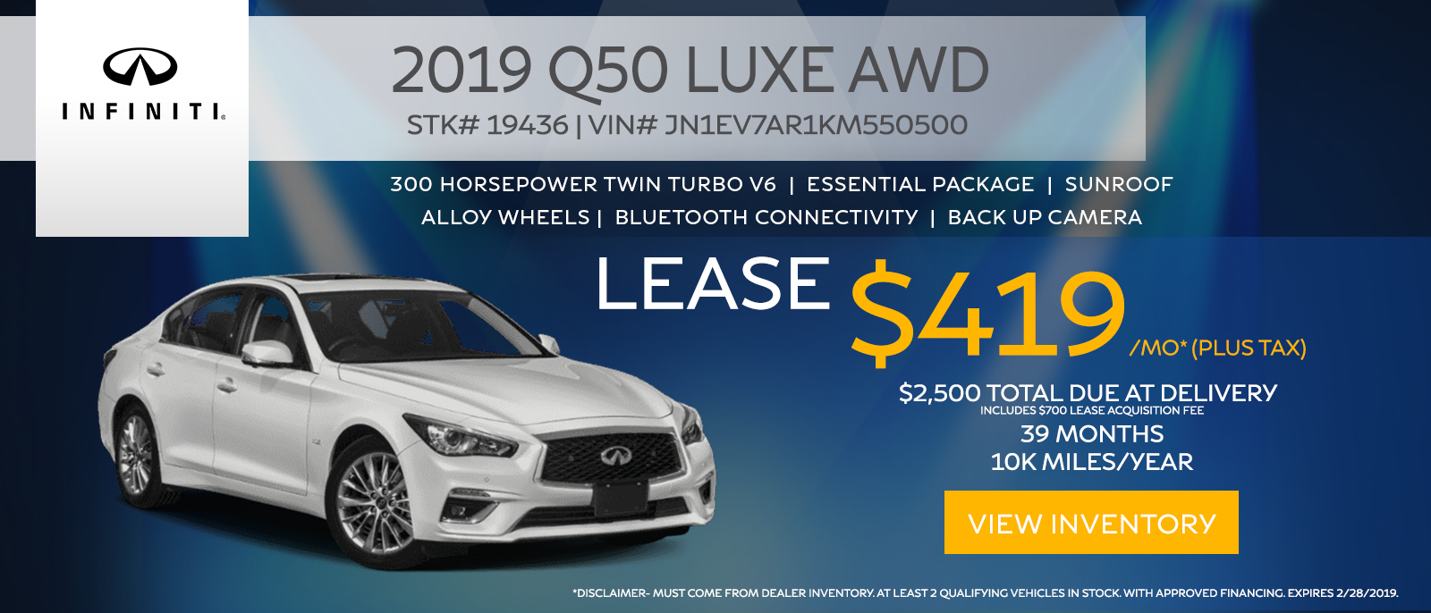 2019 Q50 Lease
