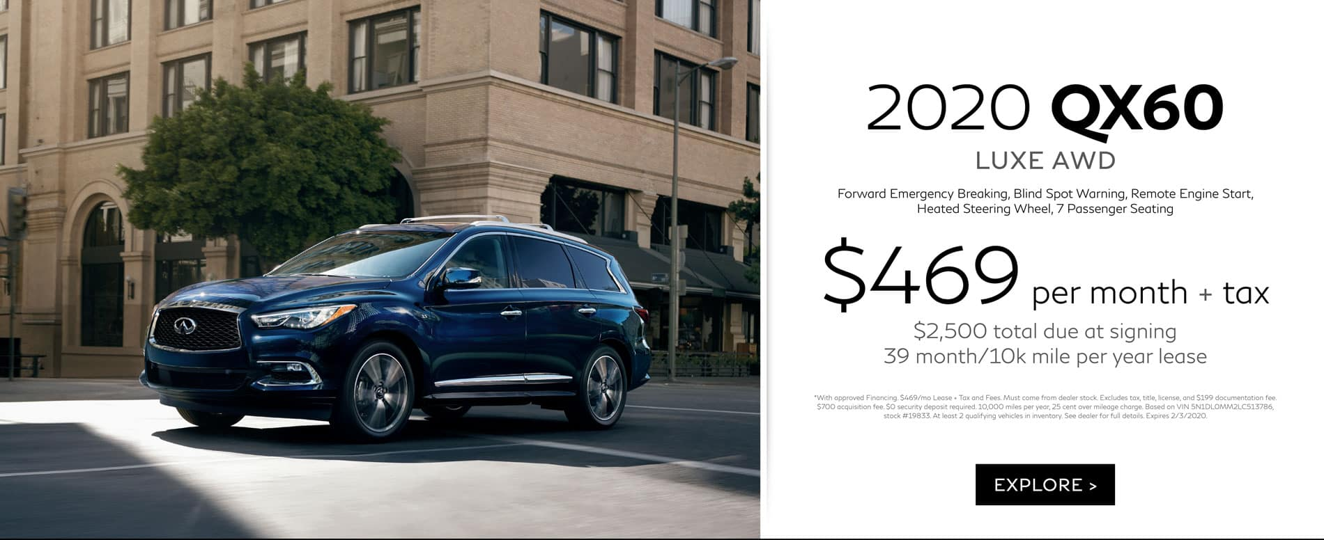 2020 January QX60 Offer | Lease for $469/mo