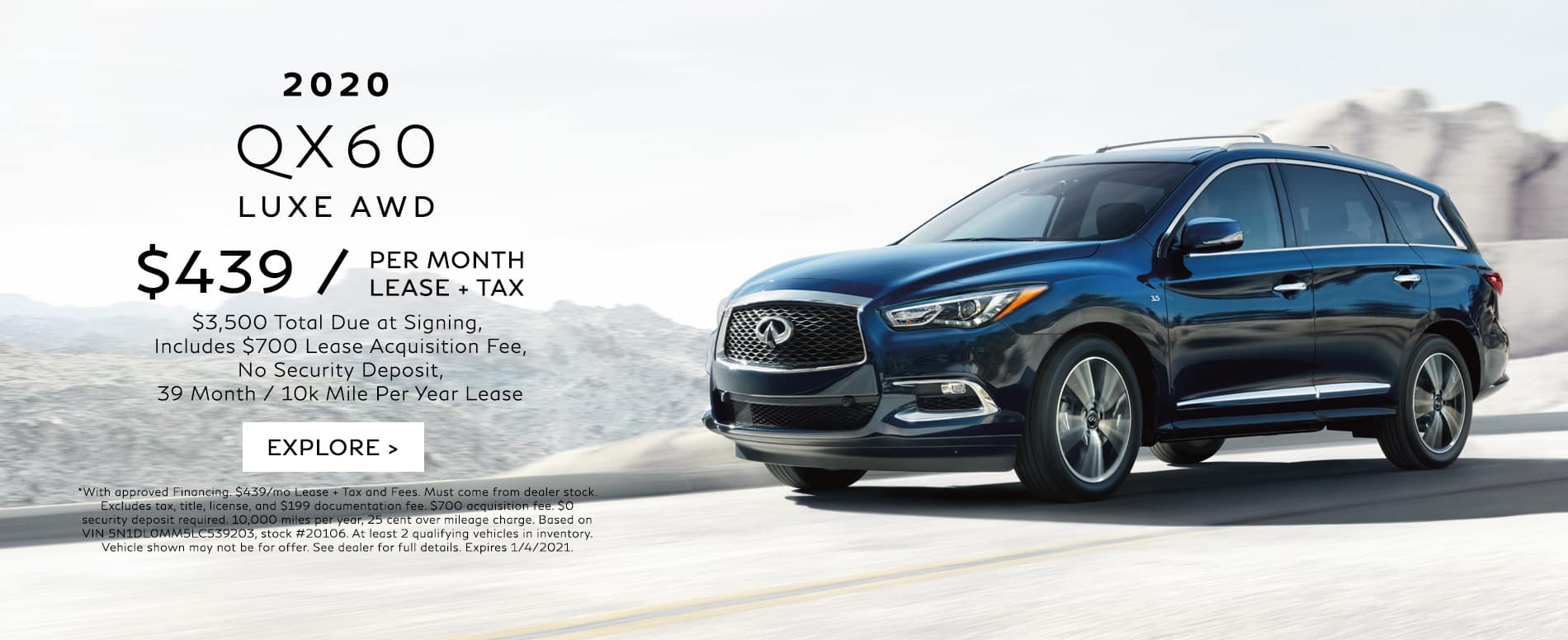 Lease a 2020 QX60 for $439/mo