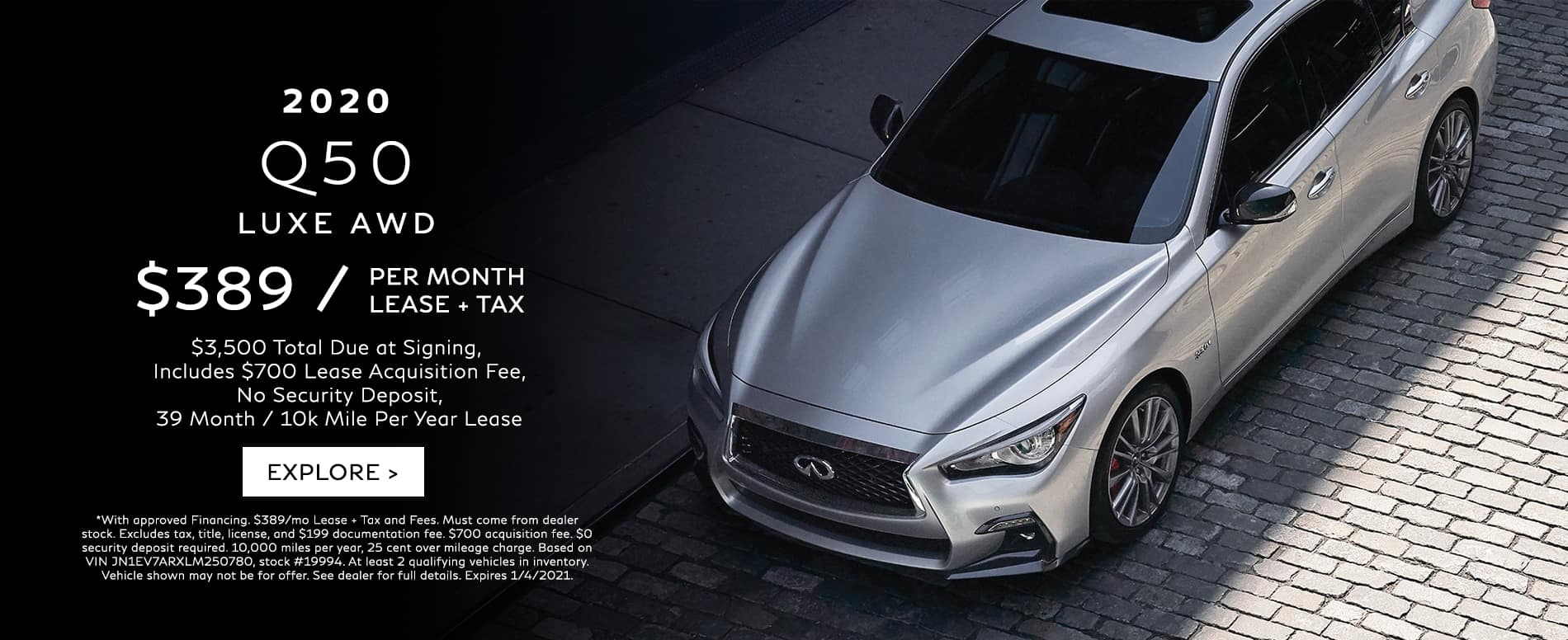 Lease a 2020 Q50 for $389/mo