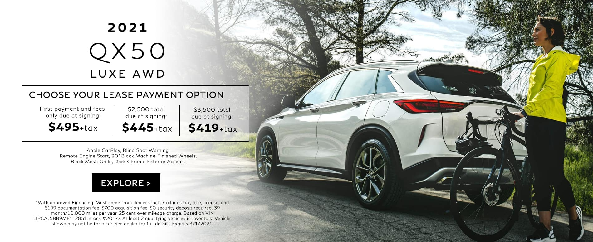 Choose your lease payment option on a new 2021 QX50 LUXE AWD. Hurry In today.