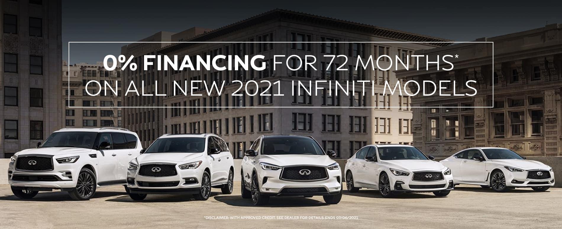 Enjoy 0% APR on new 2021 INFINITI vehicles. See dealer for details.