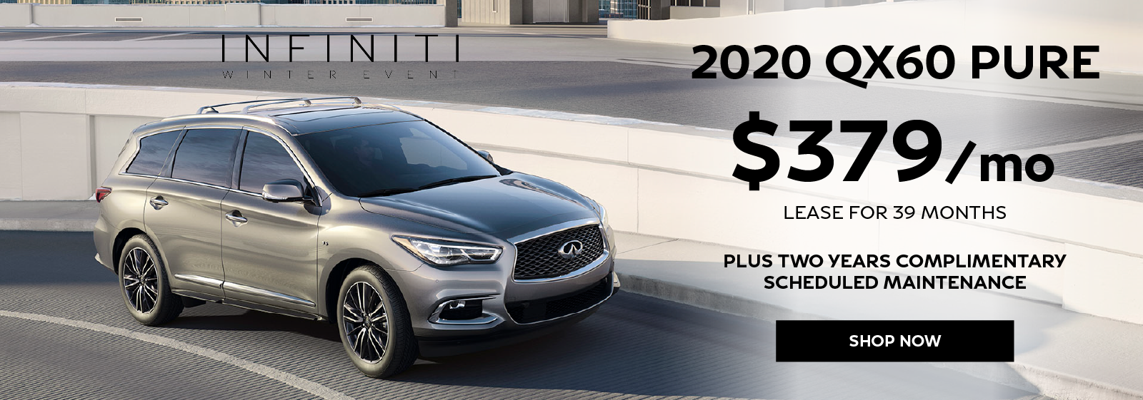 Well-qualified lessees can lease a new 2020 INFINITI QX650 PURE for $379 per month for 39 months plus get two years complimentary scheduled maintenance. Click to view inventory.