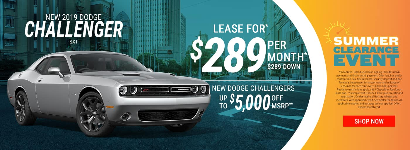 2019 Challenger $289 Per Month Lease