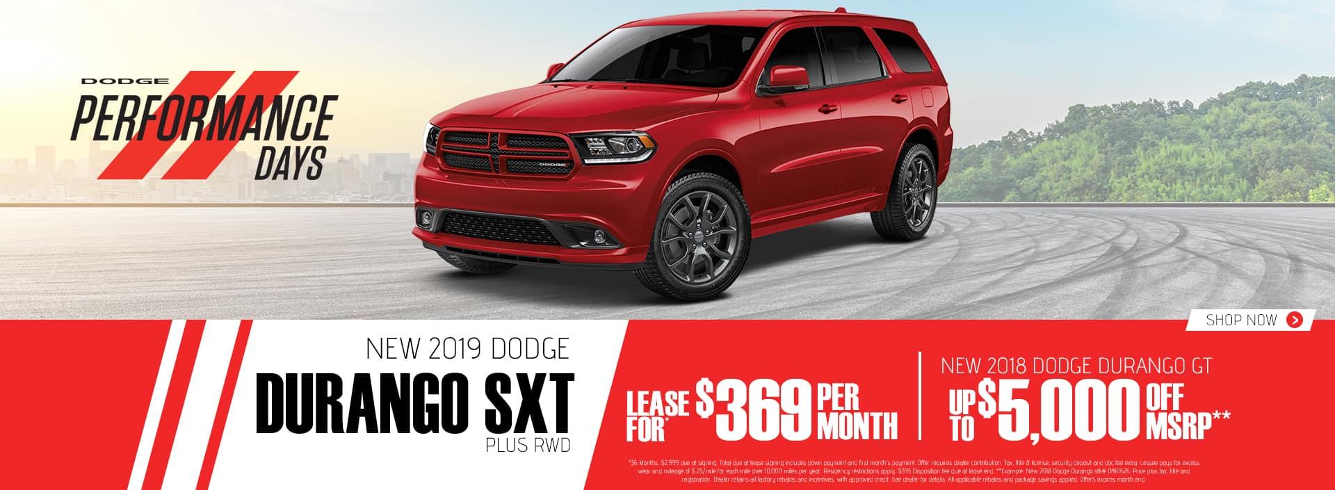 2019 Durango SXT Plus$369 Per Month 36 Months $2999 Down