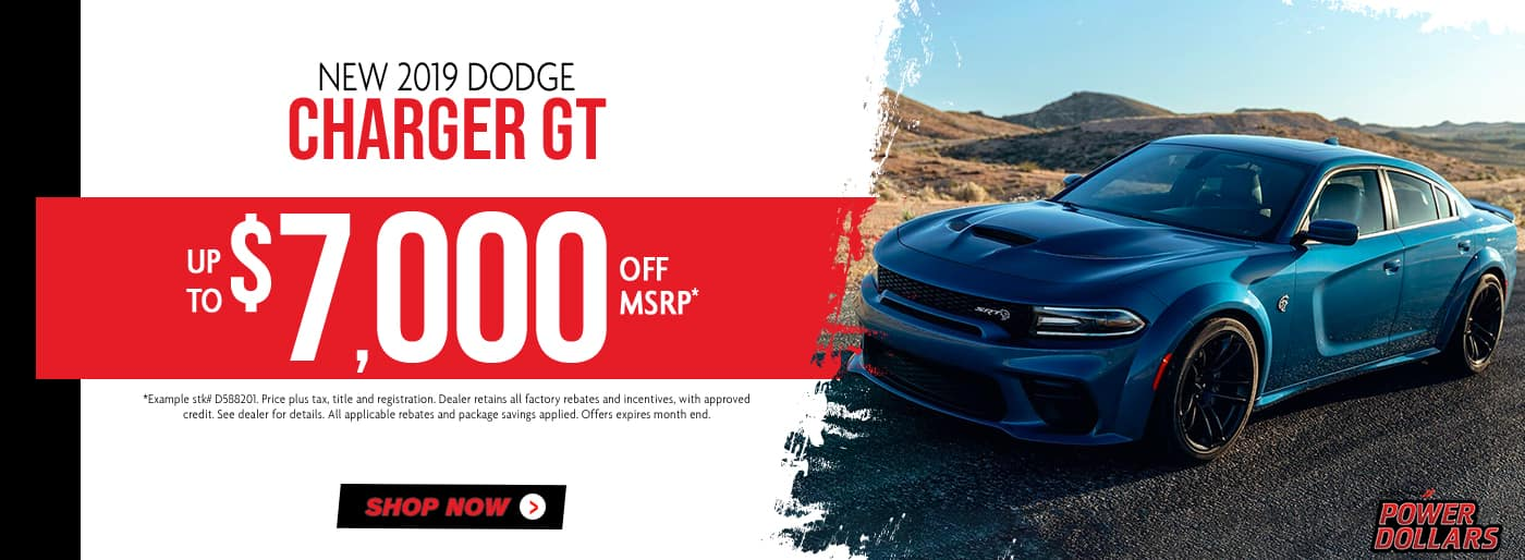2019 Dodge Charger GT, $7,000 off msrp
