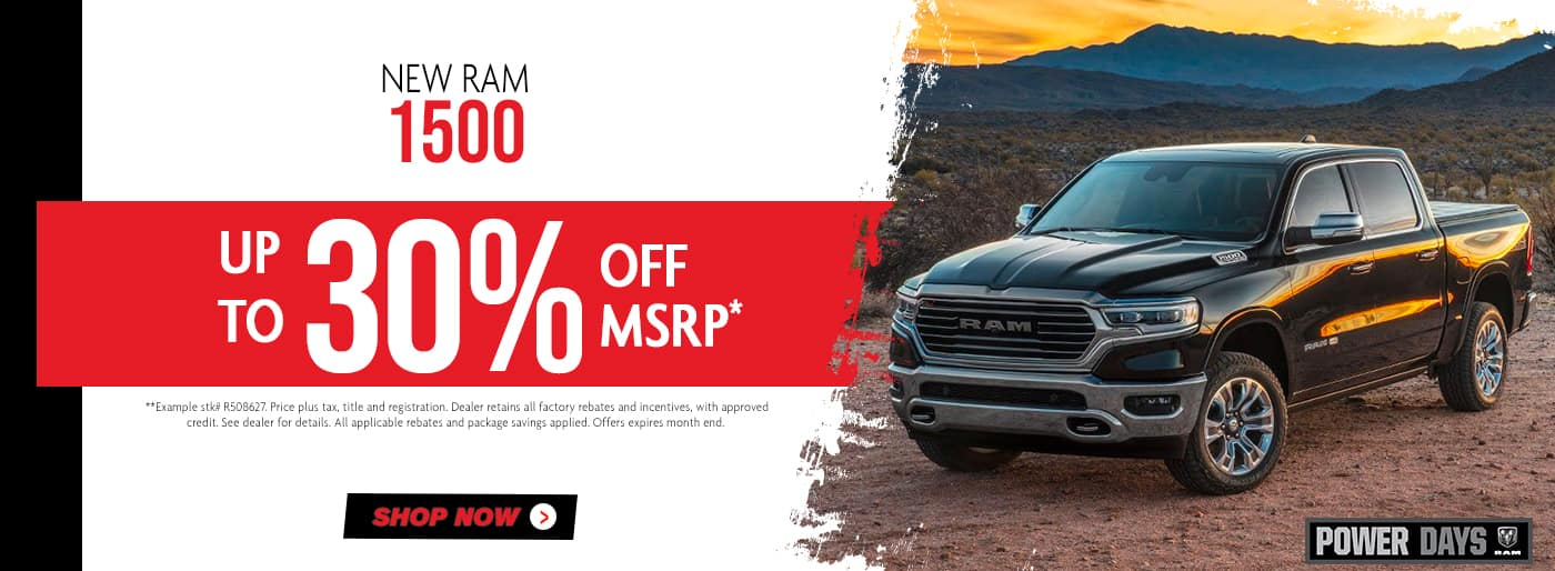 New Ram 1500 up to 30% off msrp