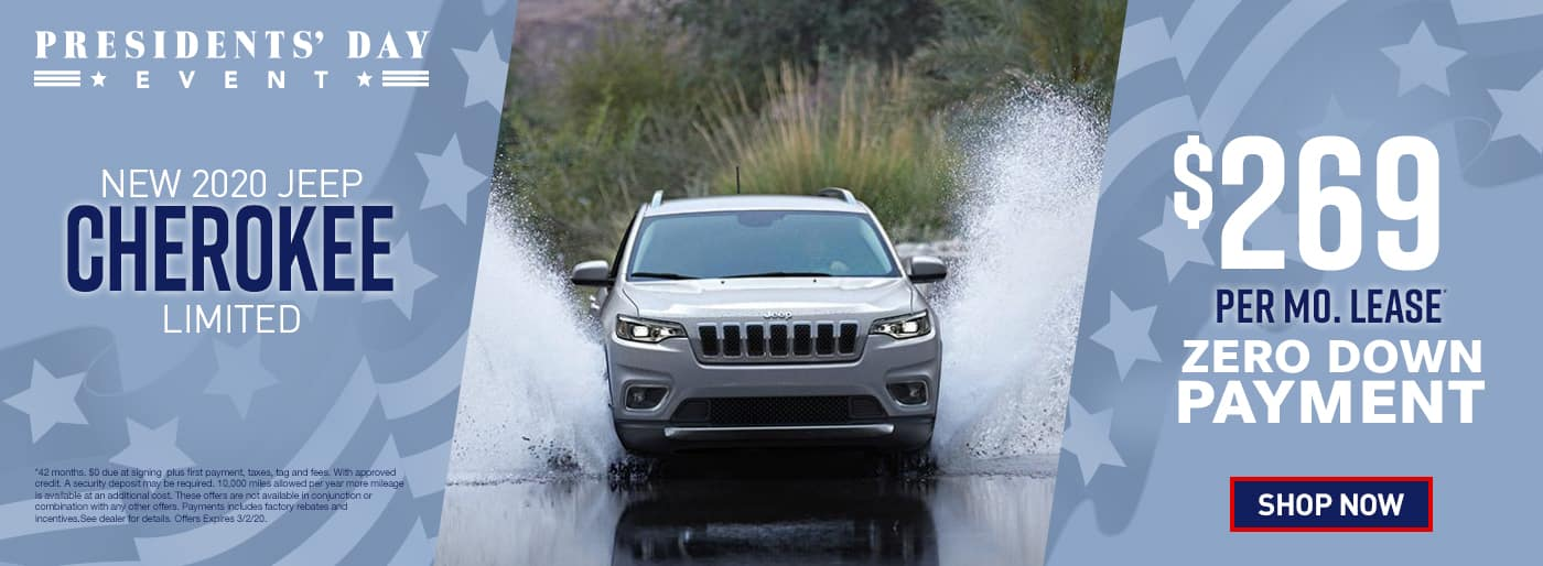 2020 Cherokee Limited$269 Per Month 42 Months/10k Miles $0 Due at signing