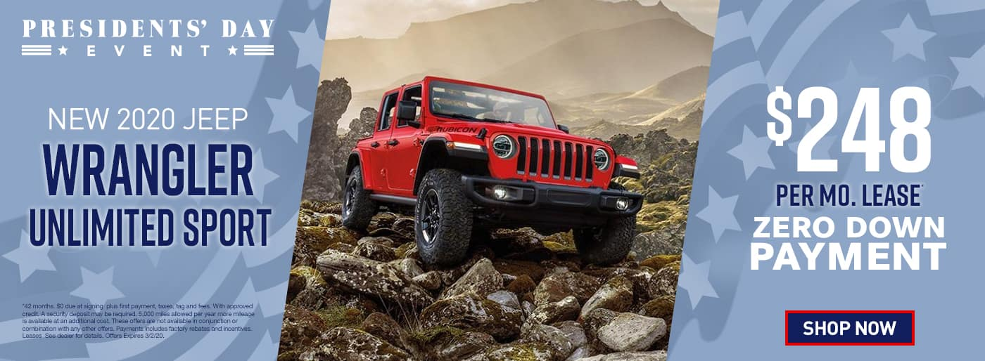 2020 Wrangler Unlimited Sport$248 Per Month 42 Months/5k Miles $0 Due at signing