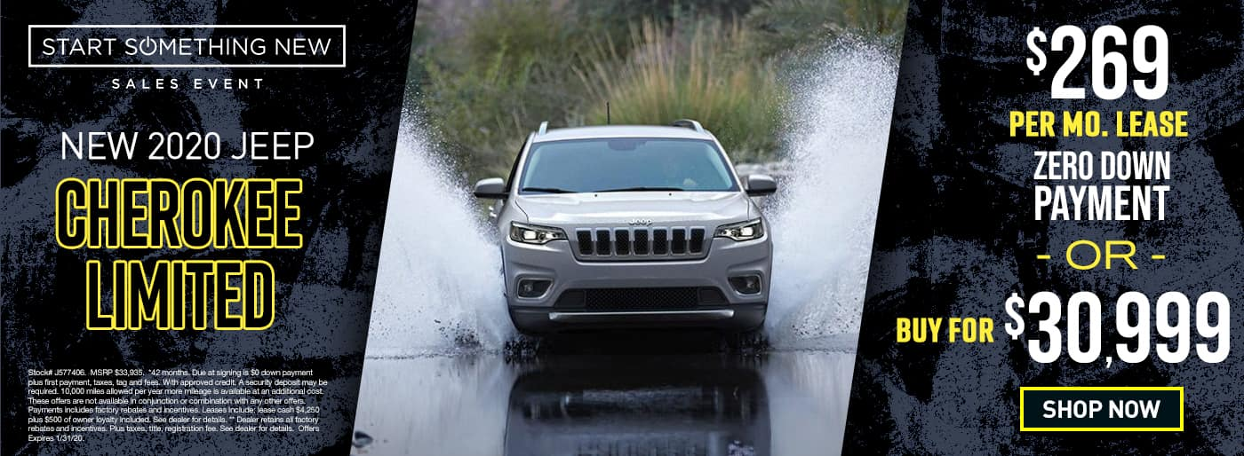 2020 Cherokee Limited	$269 Per Month 42 Months/10k Miles $0 Down