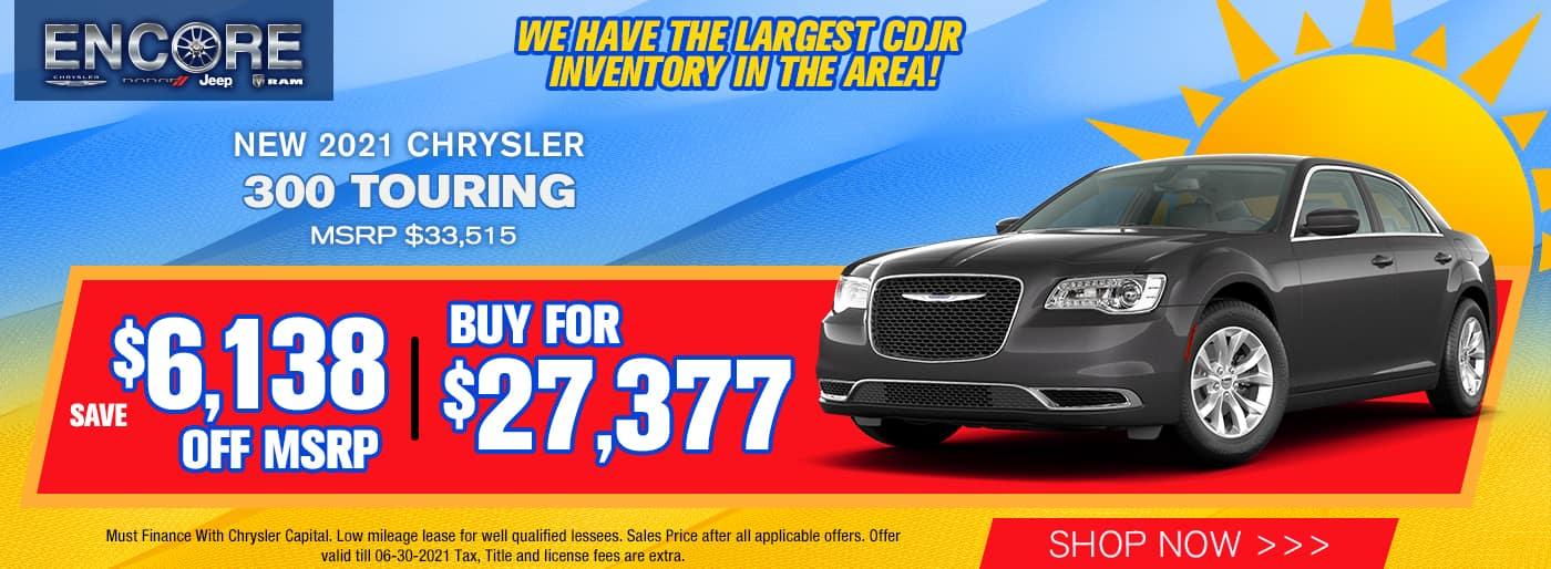 2021 CHRYSLER 300 TOUR MSRP $33,515 $6138 OFF SALE PRICE $27,377