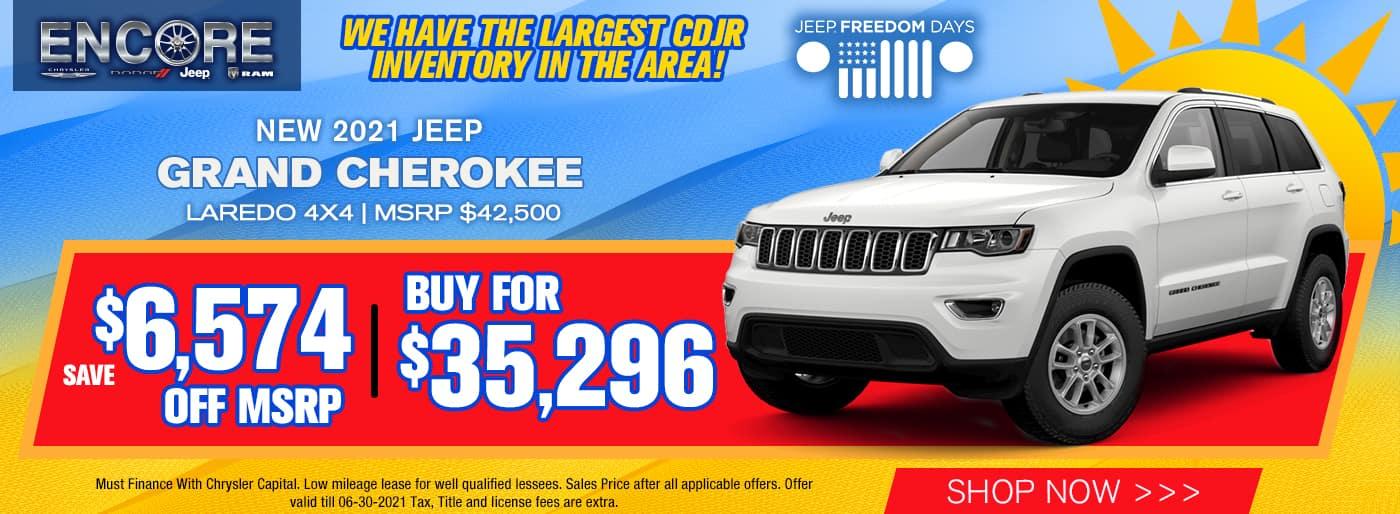 GRAND CHEROKEE $6574 OFF MSRP Sale Price $35,296