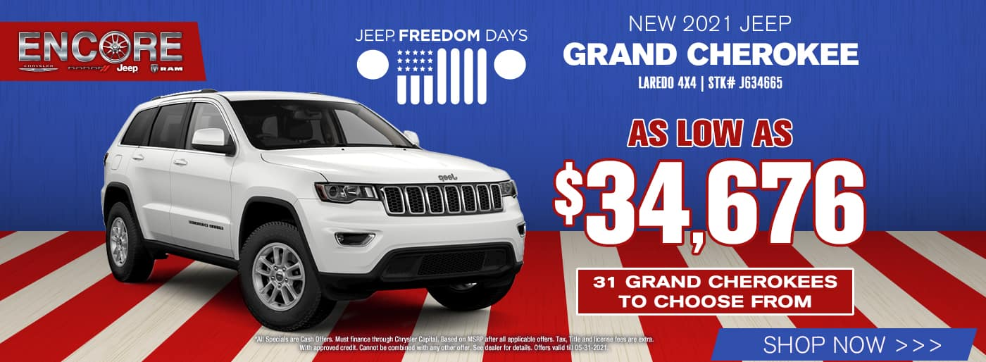 2021 Jeep Grand Cherokee Laredo 4x4 Stk# J634665…As Low As $34,676…31 Grand Cherokees to choose from