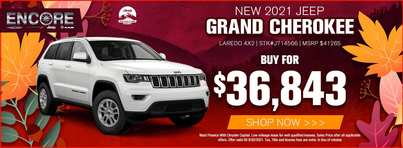 2021 JEEP GRAND CHEROKEE LAREDO 4X2 STK#J714566 MSRP $41265 SALE PRICE $36843 CASH OFFER