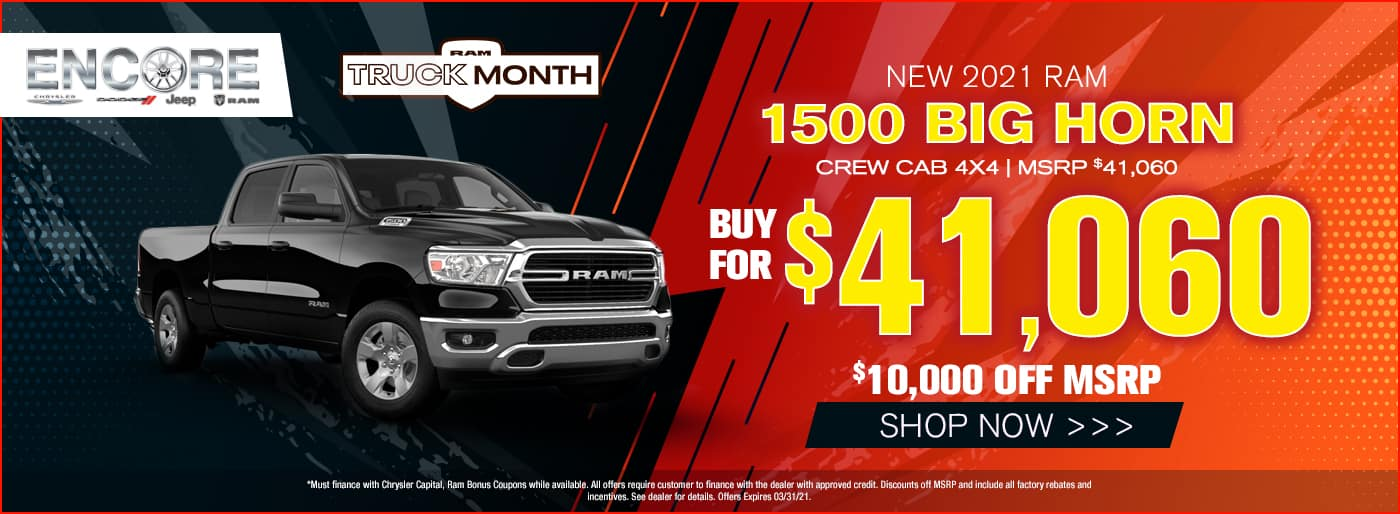 2021 Ram 1500 Bighorn Crew Cab 4x4 MSRP $41060 $10000 off Sale Price $41060