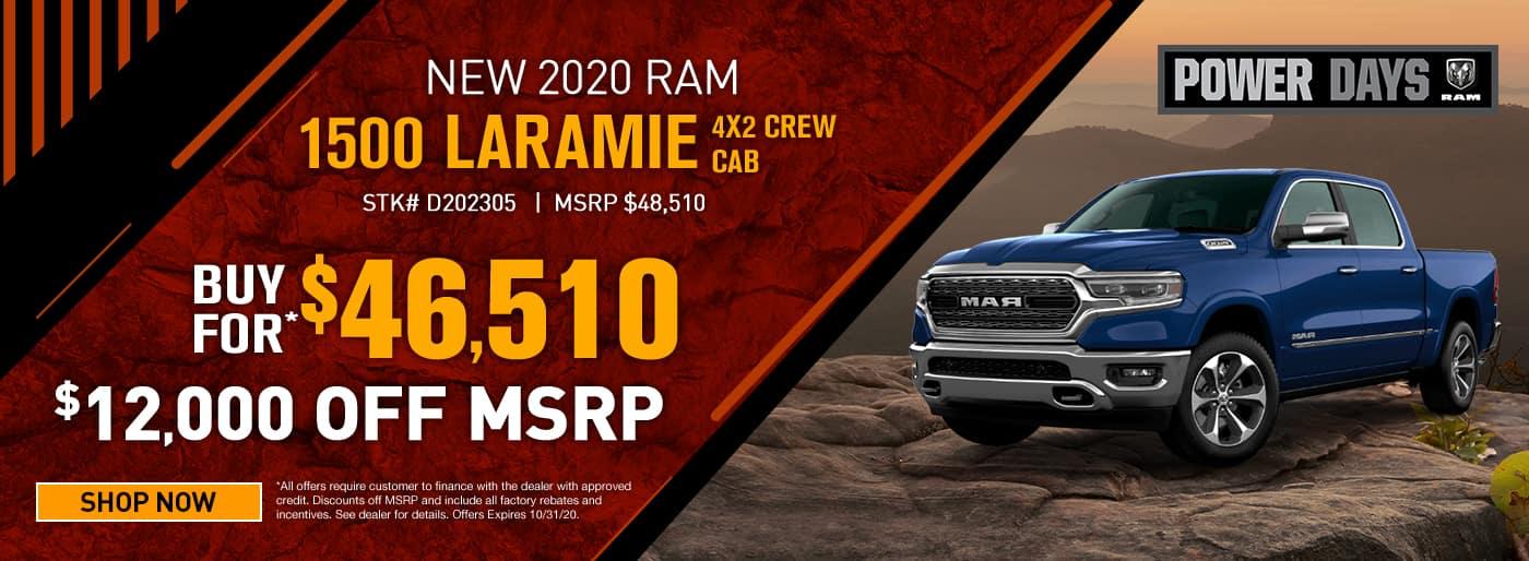 2020 Ram 1500 Laramie 4x2 Crew Cab MSRP $48510 $12000 OFF CASH OFFER $$46510