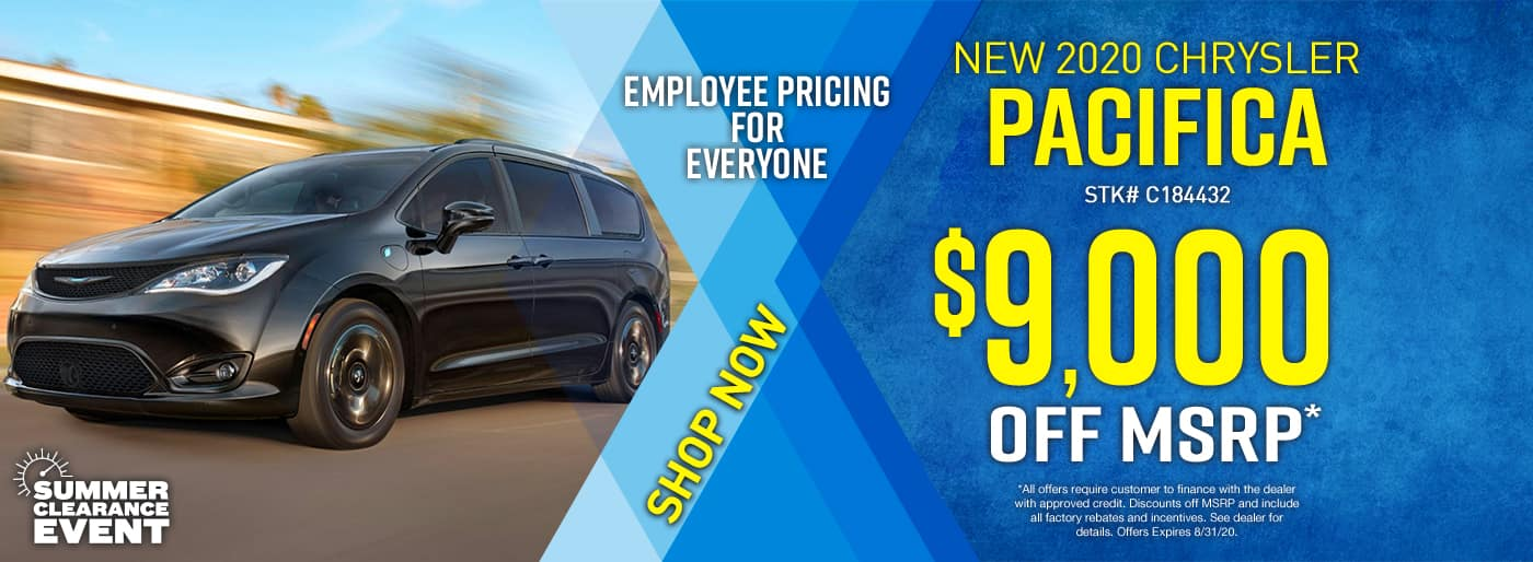 2020 Chrysler Pacifica…$9000 off …(Pacifica has Employee Pricing for Everyone)