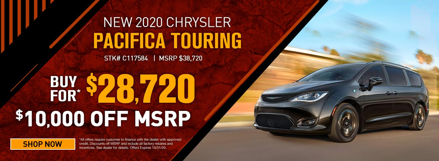 2020 Chrysler Pacifica Touring #C117584 MSRP $38720 $10000 OFF CASH OFFER $28720