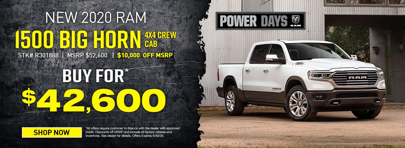 2020 Ram 1500 Big Horn 4x4 Crew Cab Buy for $42,600