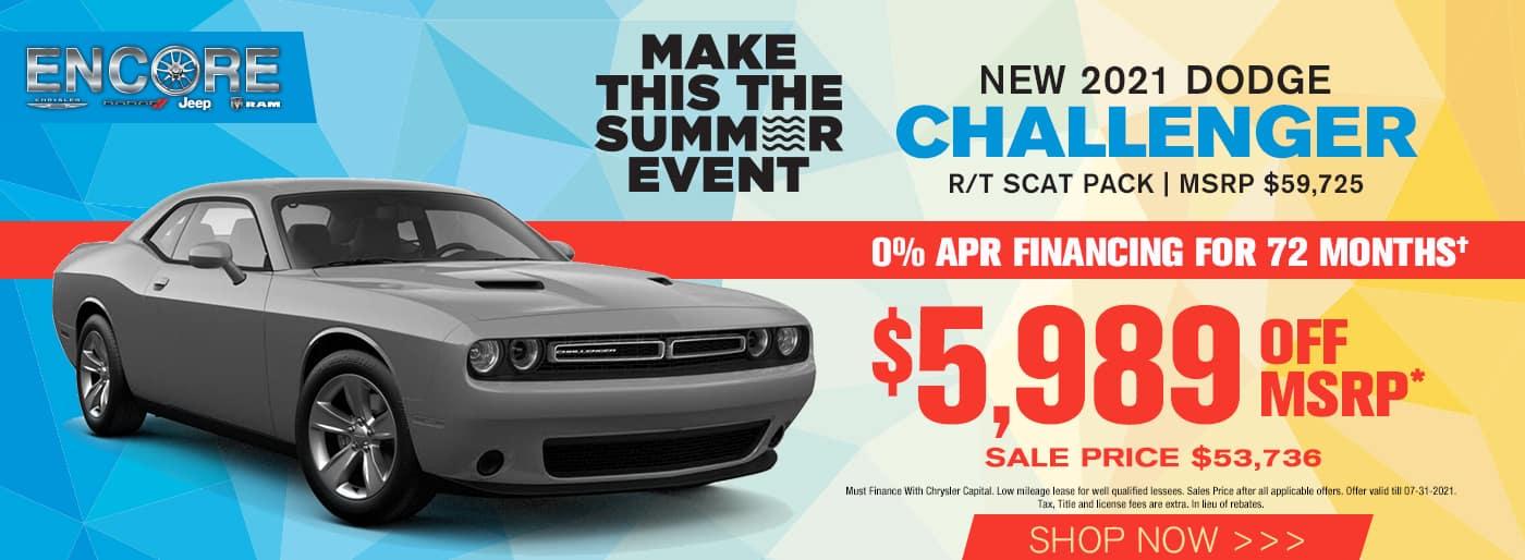 2021 DODGE CHALLENGER R/T SCAT PACK MSRP $59725 $5989 off Sale Price $53,736 cash offer