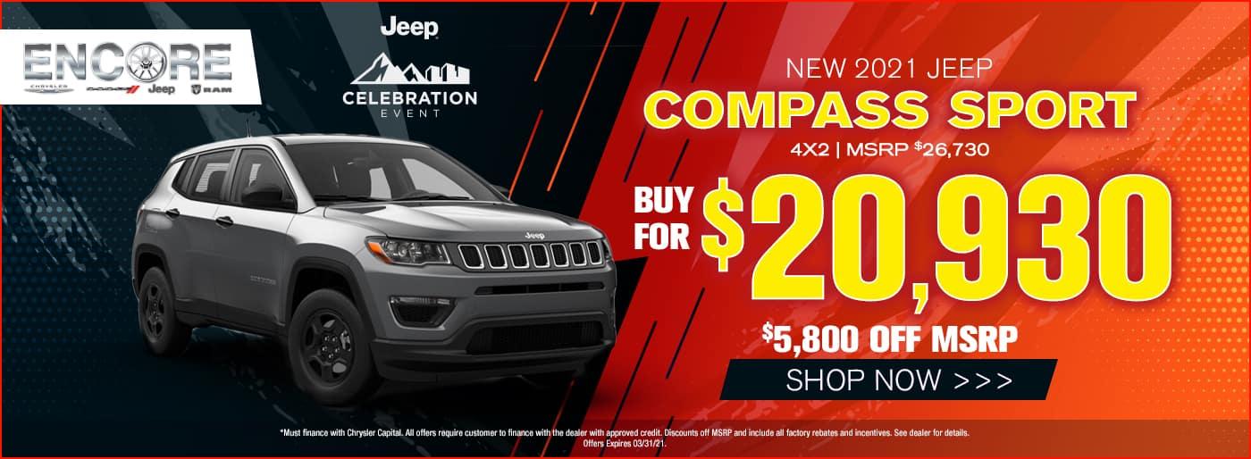 2021 Jeep Compass Sport 4x2 MSRP $26730 $5800 off Sales Price $20930