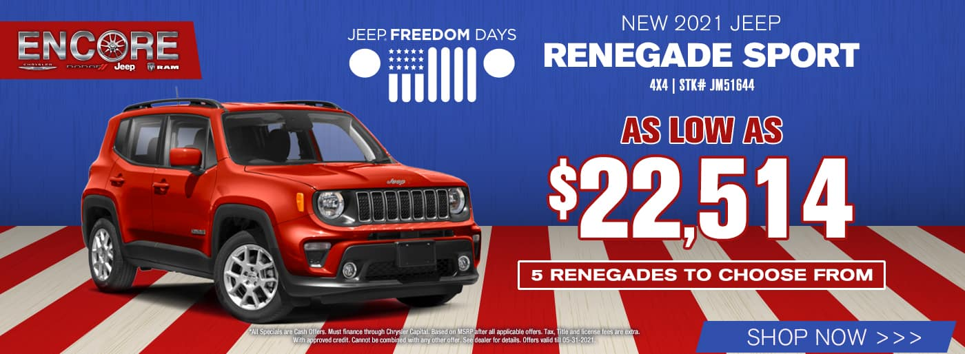 2021 Jeep Renegade Sport 4x4 Stk# JM51644…As Low As$22,514…5 Renegades to choose from