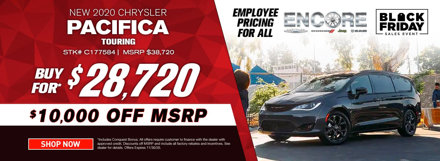 2020 CHRYSLER PACIFICA TOURING STOCK # C177584 MSRP $38720 $10000 OFF $28720