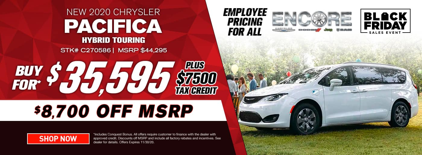 2020 CHRYSLER PACIFICA HYBRID TOURING STOCK# C270586 MSRP $44295 $8700 OFF $35595 PLUS $7500 TAX CREDIT