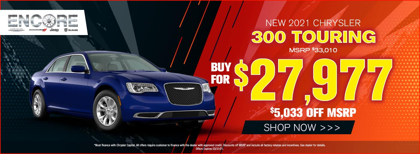 2021 Chrysler 300 Touring MSRP $33010 $5033 off Sale Price $27977
