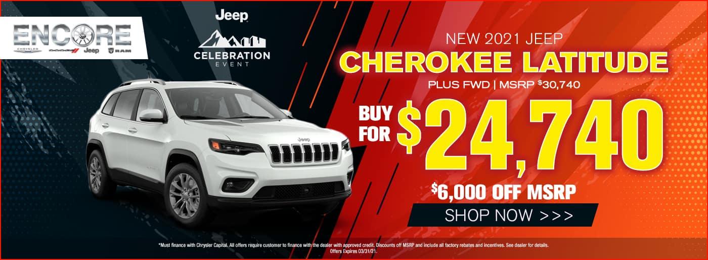 2021 Jeep Cherokee Latitude Plus FWD $30740 Sales Price $6000 off $24740