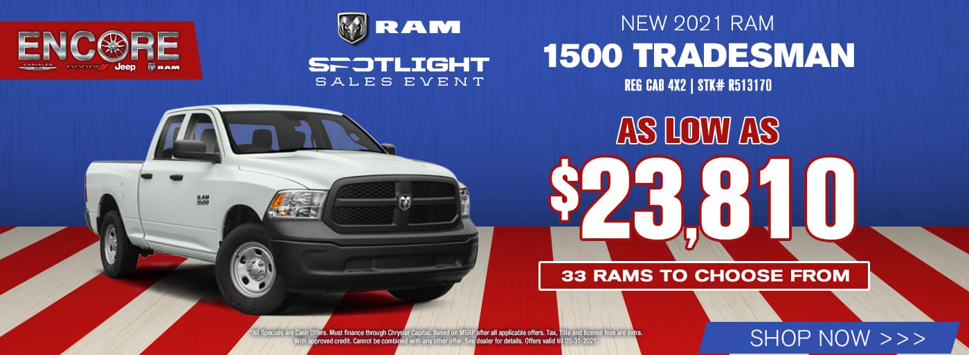 2021 Ram 1500 Tradesman Reg Cab 4x2 Stk# R513170…As Low As $23,810…33 Rams to choose from
