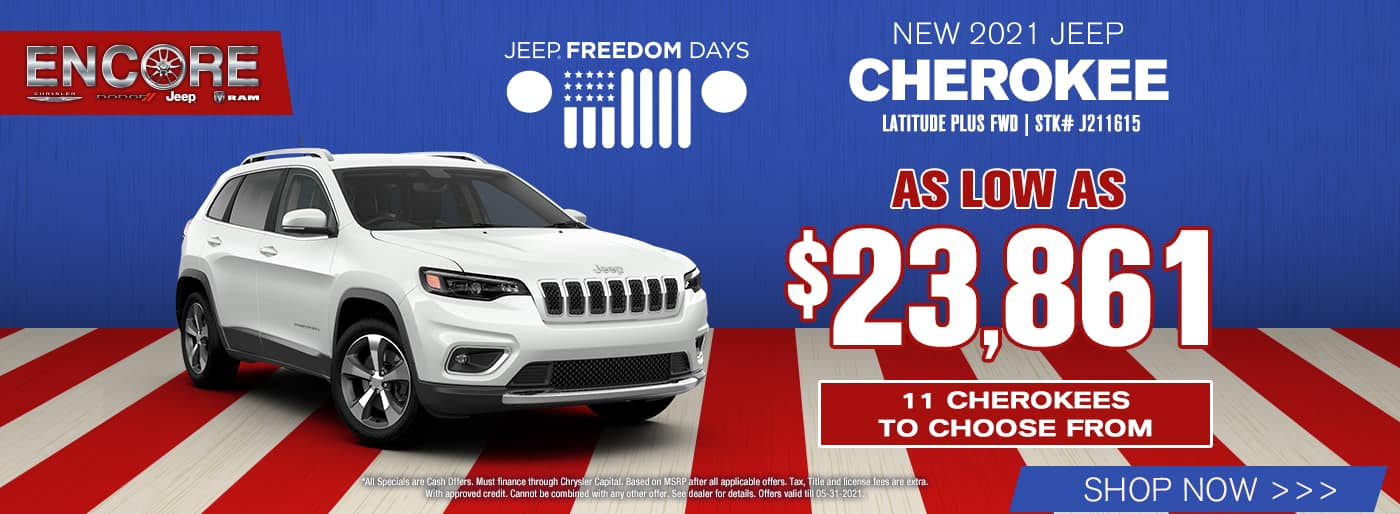 2021 Jeep Cherokee Latitude Plus FWD Stk# J211615… As Low As $23,861…11 Cherokees to choose from