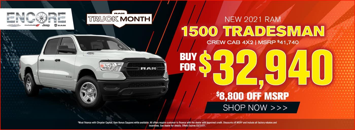 2021 Ram 1500 Tradesman Crew Cab 4X2 MSRP $41740 $8800 off Sales Price $32940