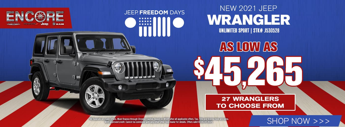 2021 Jeep Wrangler Unlimited Sport Stk# J530528…As Low As $45,265…27 Wranglers to choose from