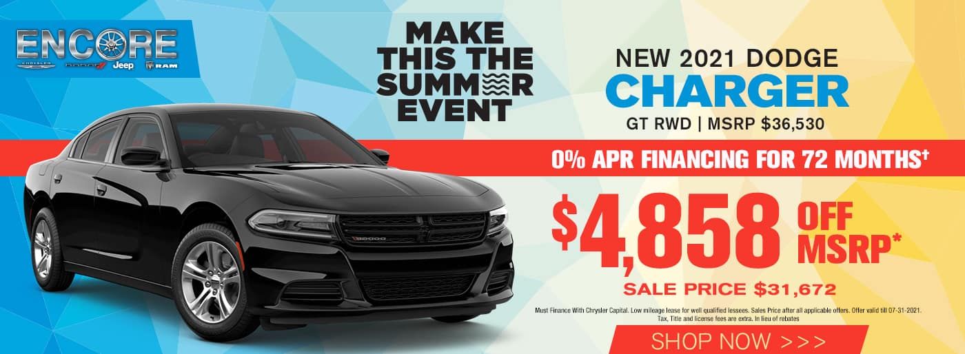 2021 DODGE CHARGER GT RWD MSRP $36530 $4858 off Sale Price $31,672 Cash Offer or in lieu of rebates 0%x72 mos