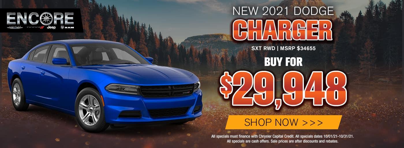 2021 DODGE CHARGER SXT RWD MSRP $34655 SALE PRICE $29948