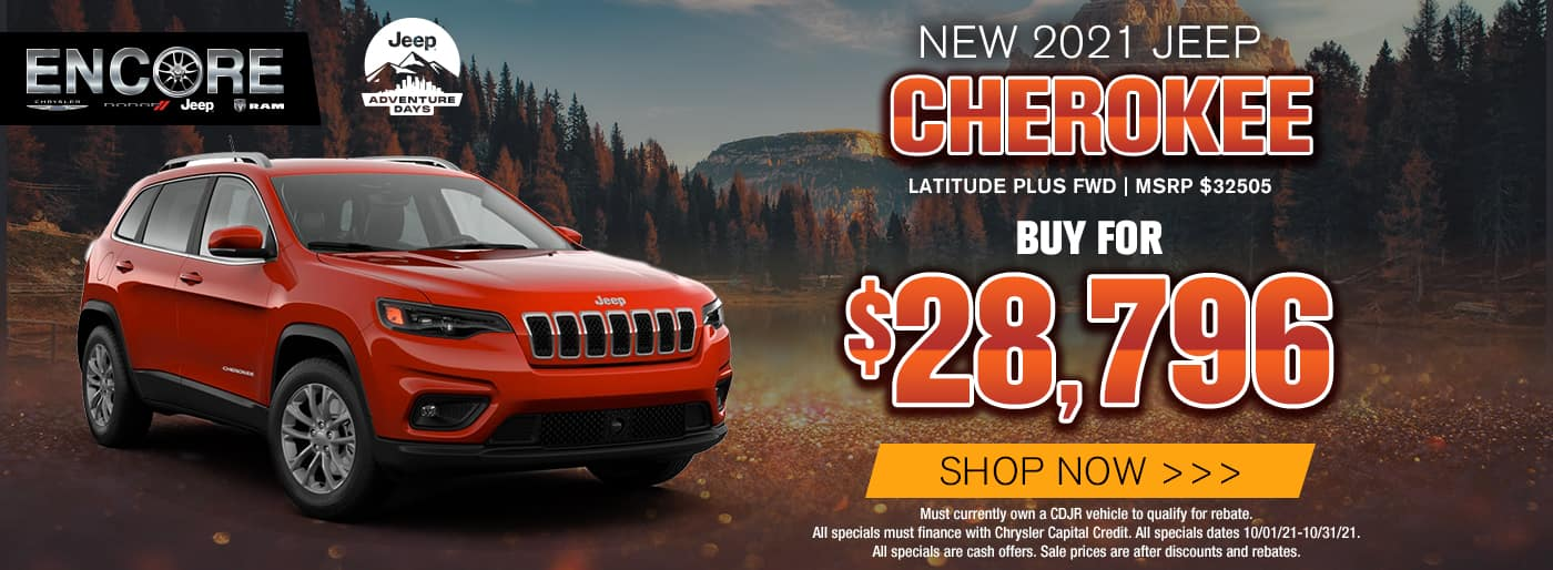 2021 JEEP CHEROKEE LATITUDE PLUS FWD MSRP 32505 SALE PRICE $28796 MUST CURRENTLY OWN A CDJR VEHICLE TO QUALIFY FOR REBATE