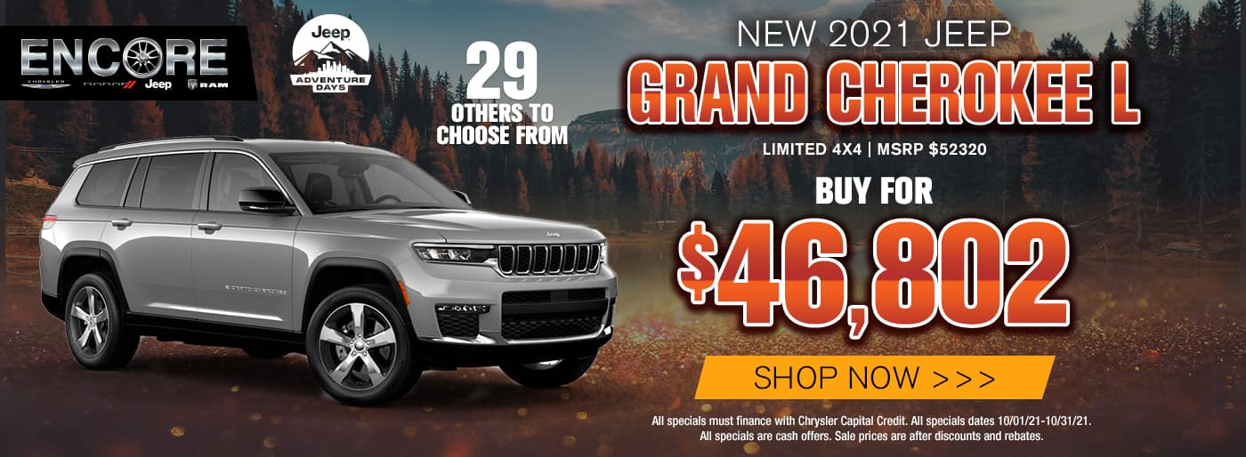 2021 JEEP GRAND CHEROKEE L LIMITED 4X4 MSRP $52320 SALE PRICE $46802 29 OTHERS TO CHOOSE FROM