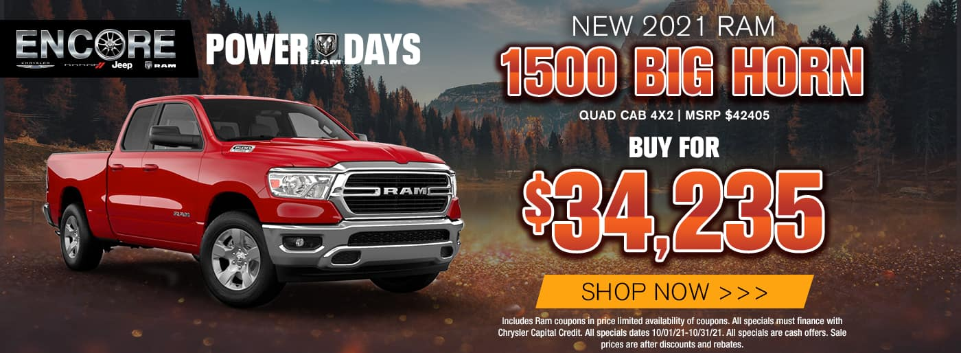 2021 RAM BIGHORN QUAD 4X2 MSRP $42405 SALE PRICE $34235 INCLUDES RAM COUPONS IN PRICE LIMITED AVAILABILITY OF COUPONS