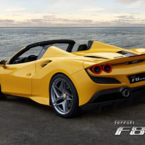 Ferrari F8 Spider back angle view