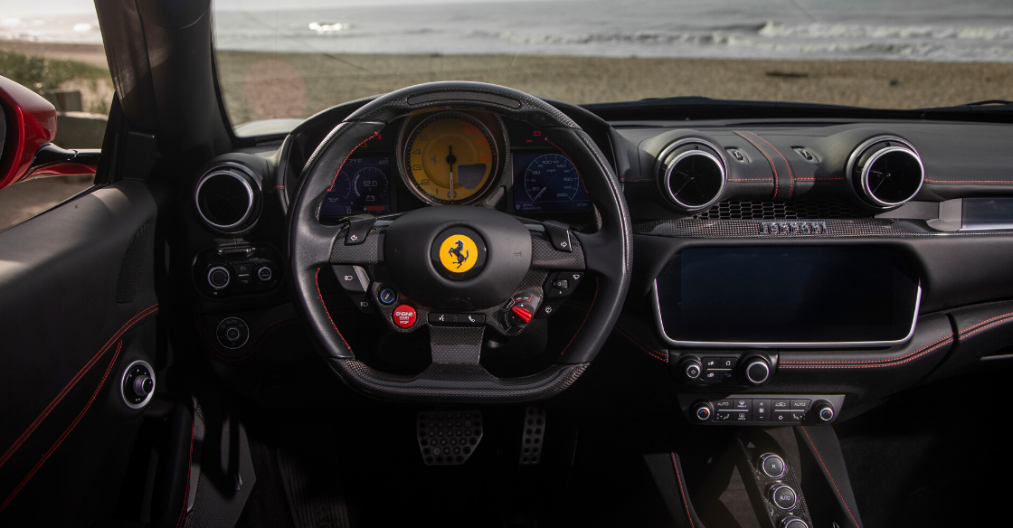 Steering wheel with Ferrari logo