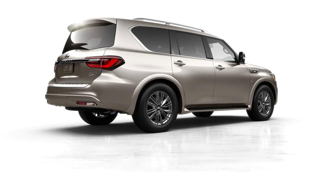 2019 INFINITI QX80 rear view with white background