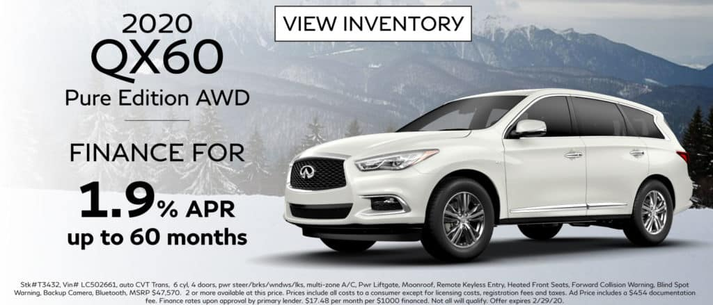 2020 INFINITI QX60 Pure Edition AWD. Finance for 1.9% up to 60 months. See retailer for complete details. Image is of a 2020 QX60 on the snow next to a mountainside.