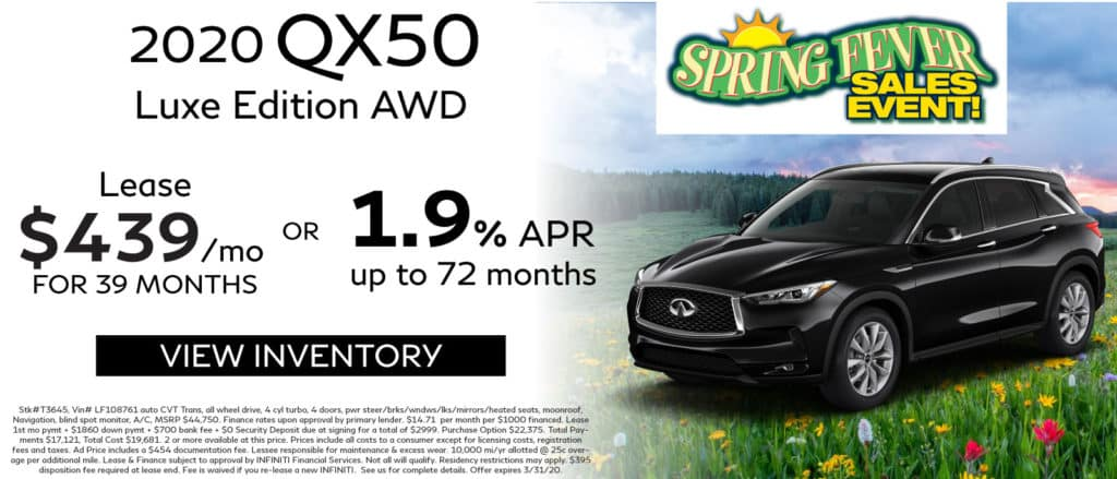 2020 INFINITI QX50 Luxe Edition AWD. Lease for $439 a month for 39 months. No security deposit. Finance for 1.9% up to 72 months. See retailer for complete details. Image is of a 2020 QX50 on a hill with flowers.