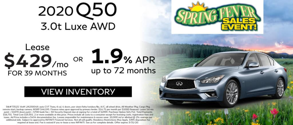 2020 INFINITI Q50 3.0t Luxe AWD. Lease for $429 a month for 39 months. No security deposit. Finance for 1.9% up to 72 months. See retailer for complete details. Image is of a 2020 Q50 on a hill with flowers.