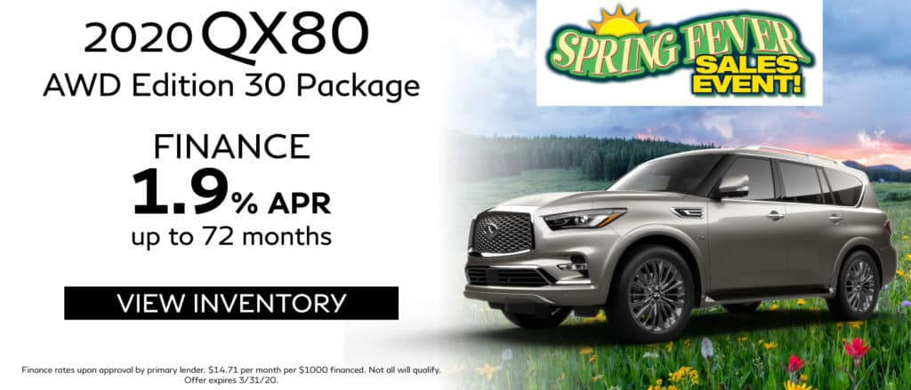 2020 INFINITI QX80 AWD Edition 30 Package. Finance for 1.9% up to 72 months. See retailer for complete details. Image is of a 2020 QX80 on a hill with flowers.