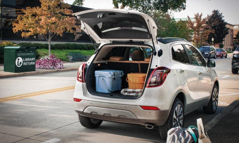 White 2020 Buick Encore rear view with hatch open