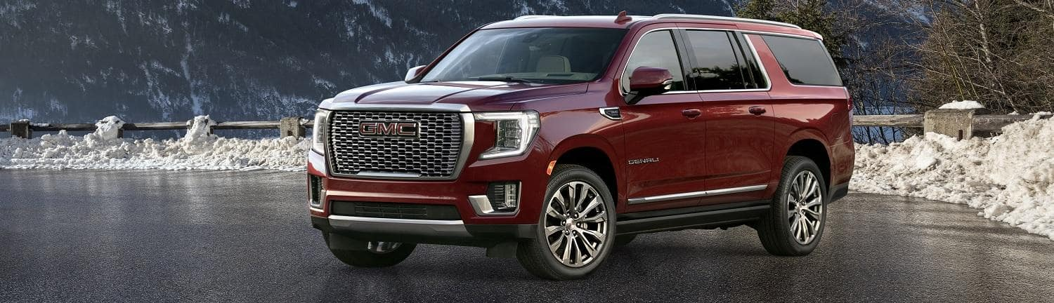 2021 GMC Yukon XL with mountains in the background