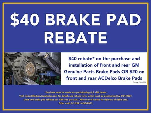 $40 Brake Pad Rebate