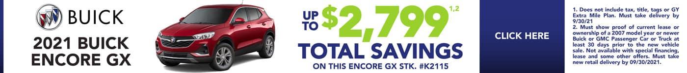 Up to $2,799 Total Savings on this Encore GX STK. #K2115